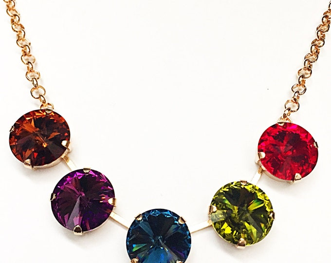 Candy-colored gem tone five stone Swarovski rivoli Crystal 14mm large stone crystal necklace. Put a colorful finish on any look! Her gift!