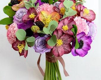 Bridal bouquet Clay Wedding bouquet Hand Alternative bouquet Clay bouquet Wedding flowers