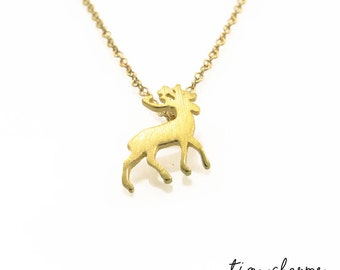 Stag Necklace, Stag Pendant, Gold Stag Necklace, Animal Pendant, Minimalist Necklace, Small Pendant Necklace, Dainty Necklace