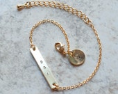 Dainty name bar bracelet with circle charm