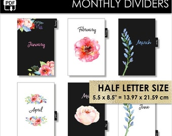 Monthly Half Letter Size Planner Dividers Day-Timer Desk Franklin Covey Classic Month Inserts Black 12 Tabs Year Pdf PRINTABLE