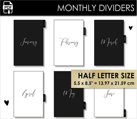 Monthly Half Letter Size Planner Dividers Minimalist Day Timer