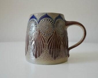 Vintage German beer Stein mug boho bohemian handmade Brown Blue 1980 s