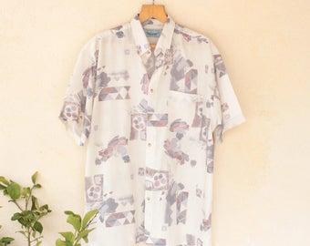 Vintage Pattern 80's Short Sleeved Shirt - Extra Large