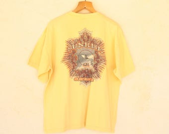 Vintage Yellow Sunrise Surfer Short Sleeved T-Shirt - Size Large