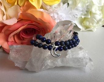 Lapis Lazuli & Lava Rock Moon Bracelet