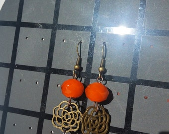 earring flower color bronze