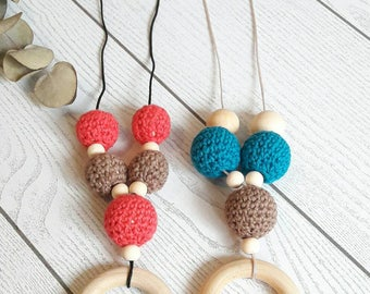 Baby friendly nursing necklace. Crochet beads. Wooden beads. Teething