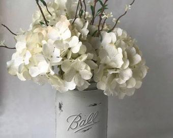 Gray Rustic Mason Jar Floral Arrangment