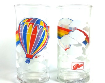 RARE Vintage Dr Pepper Glasses / Rainbow / Hot Air Balloon / Clouds / Juice Tumblers / Highball / Barware