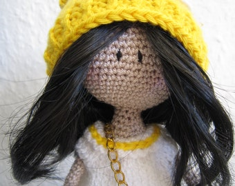 crochet doll, girl doll, amigurumi doll