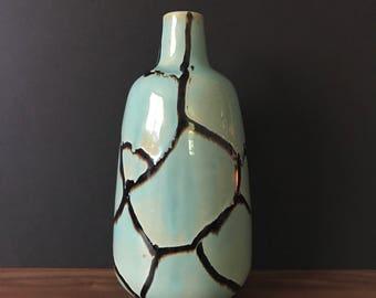 Vintage Vase | Teal and Chocolate Handmade Vase