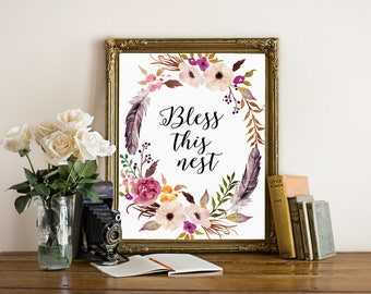 Bless this nest, house warming printable, rustic home decor, rustic print, feathers print, bless this house, farmhouse decor, welcome print