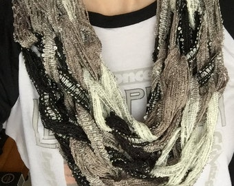 Black Gray and White Knit Infinity Scarf