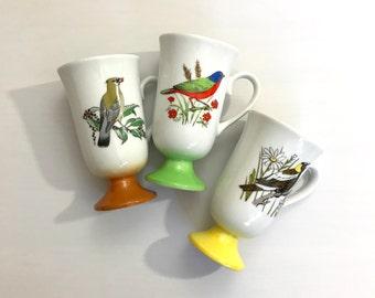 SALE Set of 3 Vintage 1950s Bird Mugs, Made in Japan // Cups Santei Colorful Pedestal Mugs Retro Kitchen// Nature Lover Bird Watcher