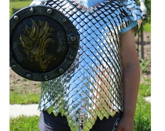 Boys knight costume - Dragon slayer - warrior - scalemail chest - scale mail armor - children armour - dragon scale - chainmail