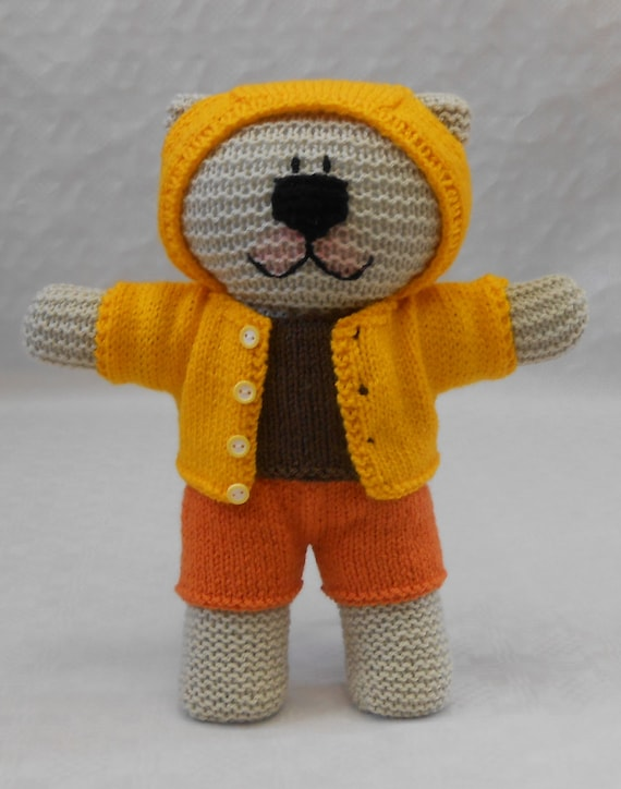 Knitting Pattern Bear Hoodie : Knitting Pattern PDF for Hoodie Shorts Tee Shirt for Teddy ...