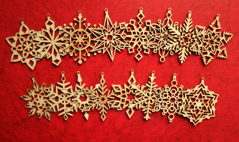 Snowflake christmas ornaments bulk - Christmas Tree Ornaments Set Of 16 Christmas Tree Decoration Christmas Wooden Snowflates Laser