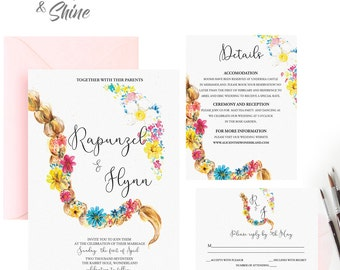 Printable Wedding Invitation Suite / Wedding Invite Set- TANGLED MONOGRAM,Disney theme Wedding Stationary,Princess Rapunzel Invitation