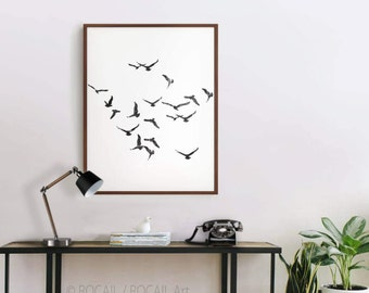 Black and white flock of birds digital art Print - Large printable poster, image, illustration for wall hanging and photo frame up to 16x20