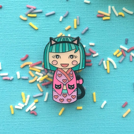 Cute Kawaii Neko Kokeshi Doll Enamel Pin