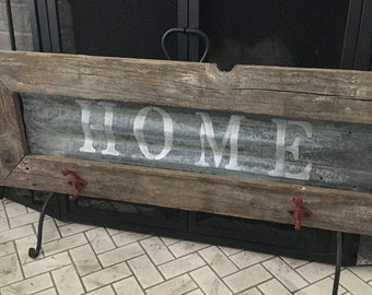 HOME sign and coat rack
