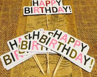 Happy Birthday Cake Topper (set of 10)