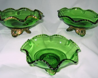 """COLORADO Lacy Medallion Jewel Set of 3 Green Gold Gilded Open Berry Bowls 5"""" diameter Crimped rim US Glass EAPG 1899 Pressed Pattern Glass"""