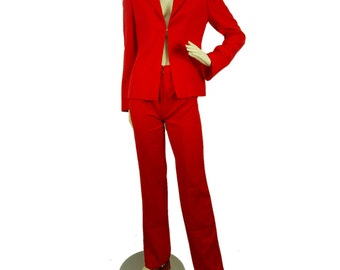 Gianni Versace Couture Coral Red Wool Jacket & Trousers Suit Set