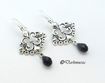 Earrings, Lily flower connector, drops, crystal beads, dark purple, goth, gothic victorian renaissance