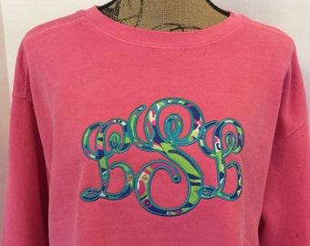Lilly Pullitzer Large fancy applique monogram  on Comfort Colors Sweatshirt,  Long Sleeve T-shirt, or Short Sleeve T-shirt