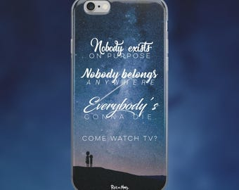 Rick and Morty 'Nobody Exists on Purpose' Quote Space Galaxy iPhone 5/5S/5SE, 6/6S/6S+ and 7/7+ Phone Case // Rick and Morty Phone Case