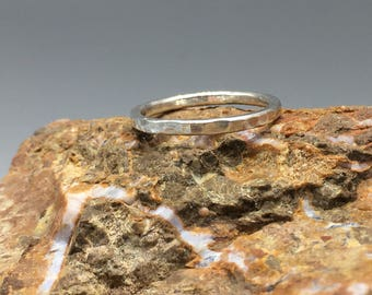 Hammered Sterling Silver Stacking Ring, Minimal Ring
