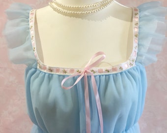 The Barbra-1950's vintage style,blue, pink, night gown, sleepwear, retro, pinup, rockabilly, gift for her, burlesque, wedding, bridal