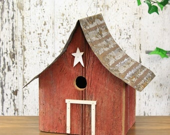 Rustic Wooden Barn Birdhouse With Star & Sloped Tin Roof (2 Assorted)