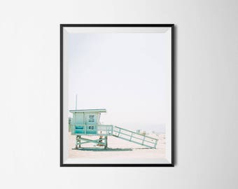 Lifeguard Tower, Beach Print, Beach Decor, Beach Printable Art, Beach Photography, Coastal,lifeguard stand, california beach