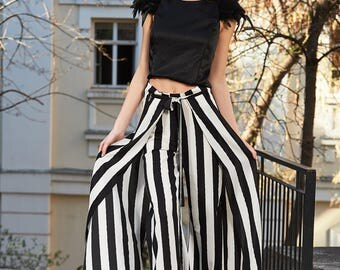 Plus Size Pants, Steampunk Clothing, Striped Pants, Gothic Pants, Avant Garde Clothing, Extravagant Pants, Black White Pants, Festive Pants