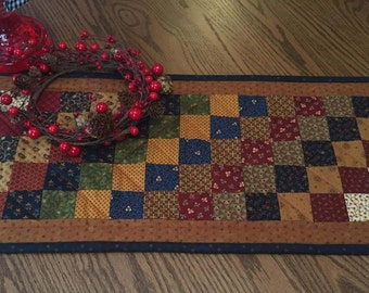 Table Runner/Table Topper/Primitive/Handmade/Quilted/Patchwork/Scrappy/Dresser Scarf /Item #130
