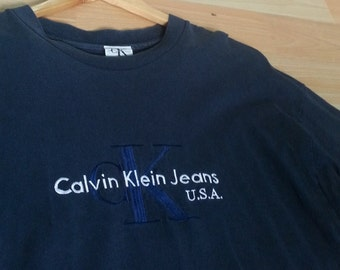 90's CALVIN KLEIN EMBROIDERED//Size L