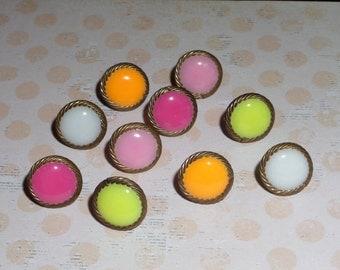 Handmade Decorative Thumb Tacks, Push Pins, Pink, yellow, fuschia, yellow, orange and bronze twist