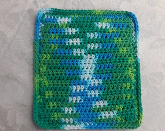 Crocheted Hotpad, 100% Cotton, double thick, green, blue, aqua, & white