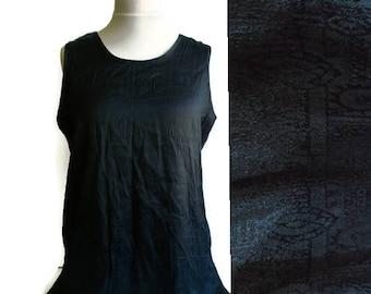 Vintage Thai silk tank top, black thai silk top, thai silk, black silk tank top, size L