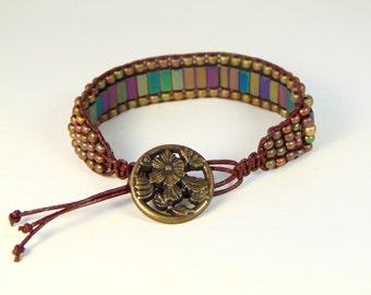 Leather wrap bracelet- Multi-colored hematite beads