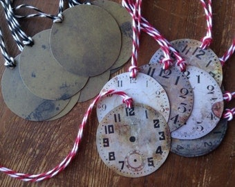 15 Clock Gift Tags, Holiday Gift Tags, Birthday Gift Tags, Party Favor Tags