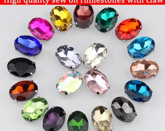 Lot of 20 pcs  13x18mm oval shape crystal glass sew on rhinestone,Silver bottom loose rhinestones