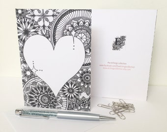 Wedding Day Cards, Love Heart Design, Love Heart Card, Personalised Greeting Card, Anniversary Card, Stationary, Zentangle Cards Art Card