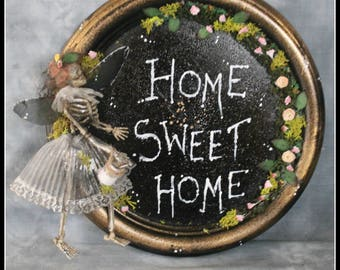 Oaak Skeleton Plaque Picture Sign Home Sweet Home macabre gift