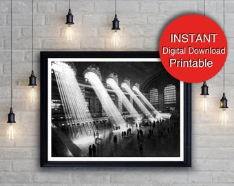 Printable Art New York City Black and White Print, Digital Download, Grand Central Station, NYC Wall Art A4 16x20