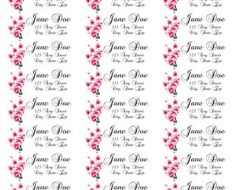 Pink Orchid Address Label-Pink Orchid Return Address Labels-Pink Flower Return Address Labels-Pink Flower Address Labels-Flower Labels
