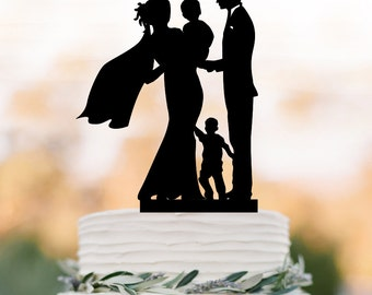 Family Wedding Cake topper with baby, bride and groom silhouette, toppers with boy, funny wedding cake toppers with child